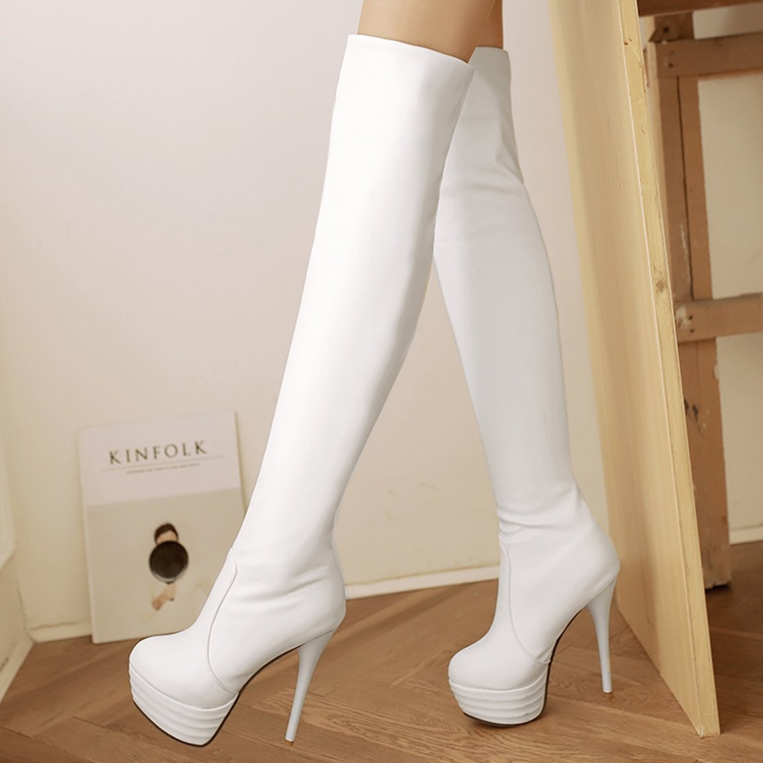AIYOUMEI Damen Stretch Overknee Stiefel Heels mit Plateau Stiletto High Heels Stiefel Langschaft Stiefel Schuhe Weiß e51e59