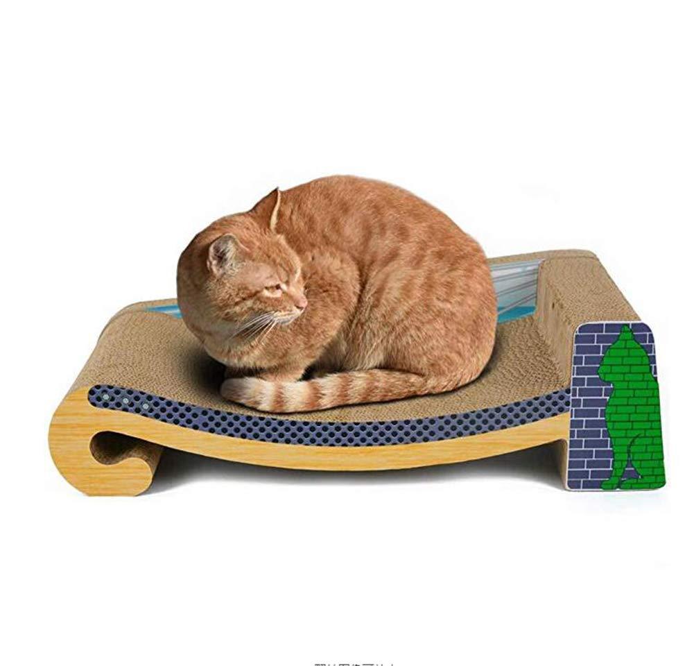 A OFVV Corrugated Paper Cat Scratch Board Cat Toy Cat Litter Cat House Cat Bed Cat Pot Hanging Bridge Wood Grain Sofa 60X27.5X17.5Cm,A