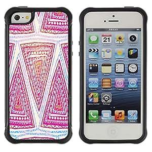 Híbridos estuche rígido plástico de protección con soporte para el Apple iPhone 5 / 5S - pattern pink art hand drawing