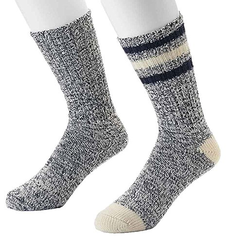 (Croft & Barrow 2 Pair Cotton Marl Blend Boot Socks - Cold Weather Comfort (Navy/Cream) )