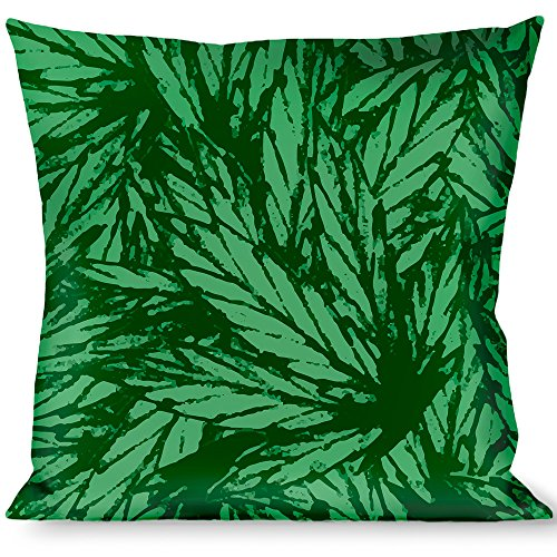 Buckle-Down Throw Pillow - Marijuana Leaves Stacked Black/Green