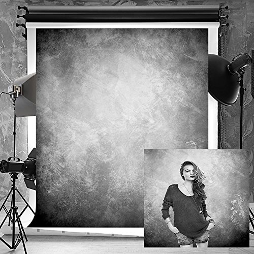 6.5ft(W) x10ft(H) Portrait Grunge Texture Microfiber Seamless Background No Wrinkle Abstract Black Grey Photo Backdrop Portrait for Teenager Adult Kids Cotton and Upgrade
