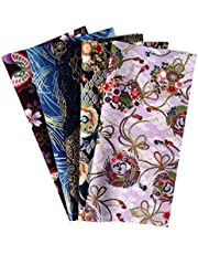 "Misscrafts 5PCS Japanese Flower Butterfly Fabric 9.8""x9.8""/25x25cm Pre-Cut Bronzing Fabric for DIY Sewing Decor"