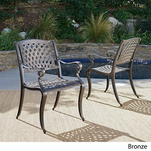 Covington Bronze Cast Aluminum Outdoor Chairs (Set of 2) (Cast Aluminum Chair)