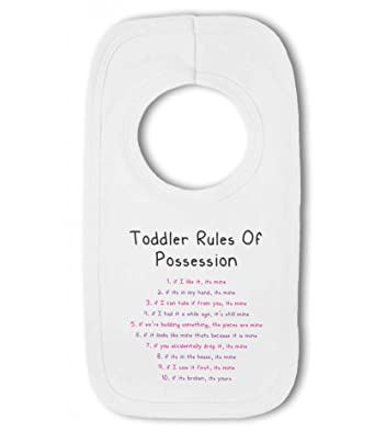 Beautiful Toddler Rules Of Possession Pink/purple Funny   Baby Bib