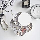 HengLiSam Jewelry Boxes Organizer Box Jewelry Storage Box 4-Layer Rotatable Jewelry Accessory Storage Tray with Lid (White)