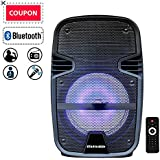 """FEIYANG STARQUEEN Compact 8"""" Portable Pa System Bluetooth Rechargeable Speaker with Remote Control and Party Lights, AUX/USB/TF Input, FM Radio, Wheels & Hole Designed for Speaker Stand"""
