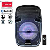 STARQUEEN Compact 8'' Portable Pa System Bluetooth Rechargeable Speaker with Remote Control and Party Lights, AUX/USB/TF Input, FM Radio, Wheels & Hole Designed for Speaker Stand