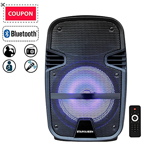FEIYANG STARQUEEN IJD 52081 12' Rechargable Bluetooth Portable Pa Speaker Karaoke System with Wireless Microphone and Colorful DJ Party Lights, AUX/USB/TF Input, FM Radio for Speaker Stand