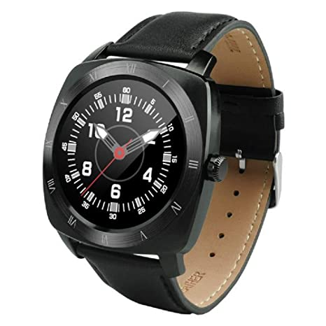 Reloj Inteligente Pantalla táctil Redonda Correa de Cuero Bluetooth Pulsera Inteligente Soporte Monitor de Ritmo cardíaco