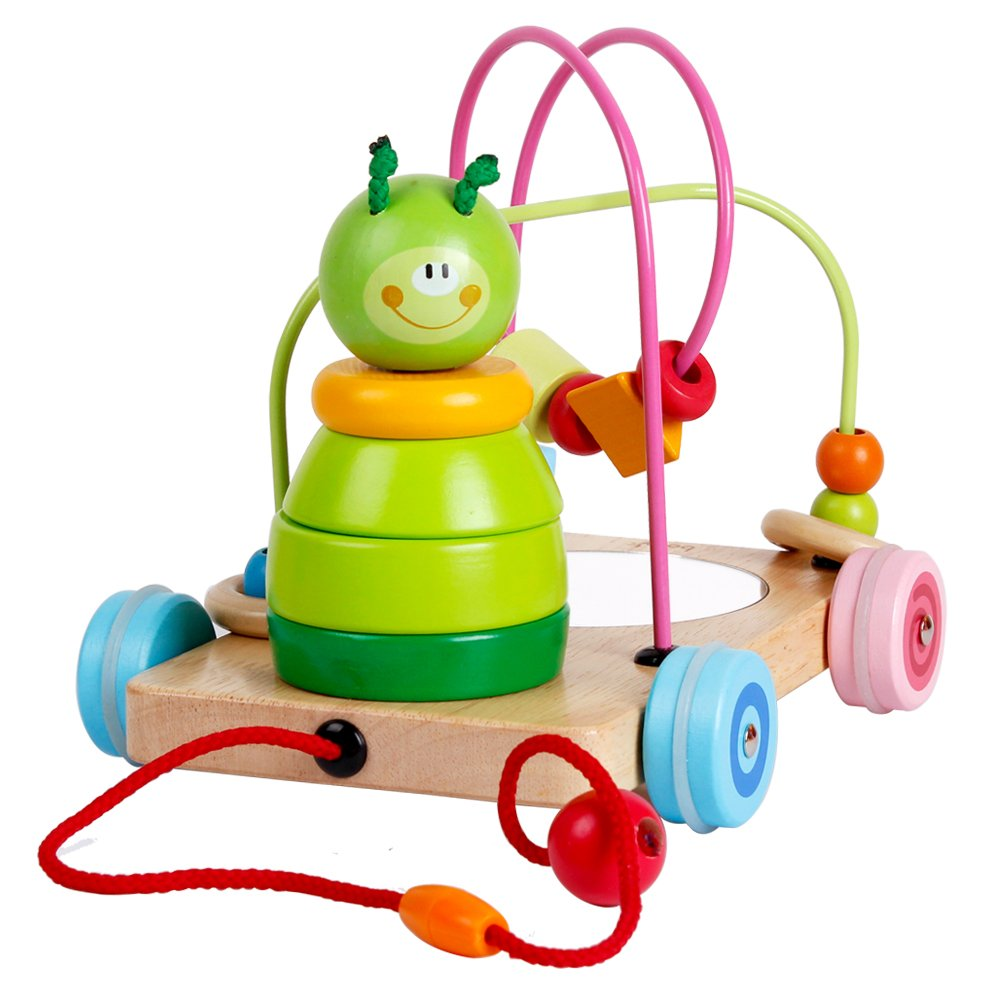 Wooden Pull Along Toys Rolling Bead Maze Game Caterpillar Stacking Blocks Toy Set for Baby Toddlers Boys and Girls