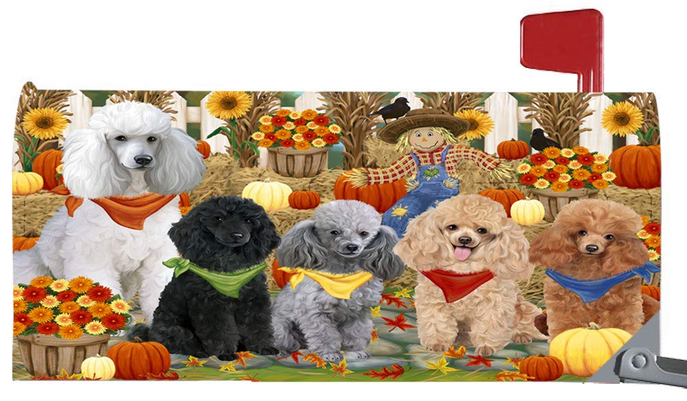 Magnetic Mailbox Cover Harvest Time Festival Day Poodles Dog MBC48062