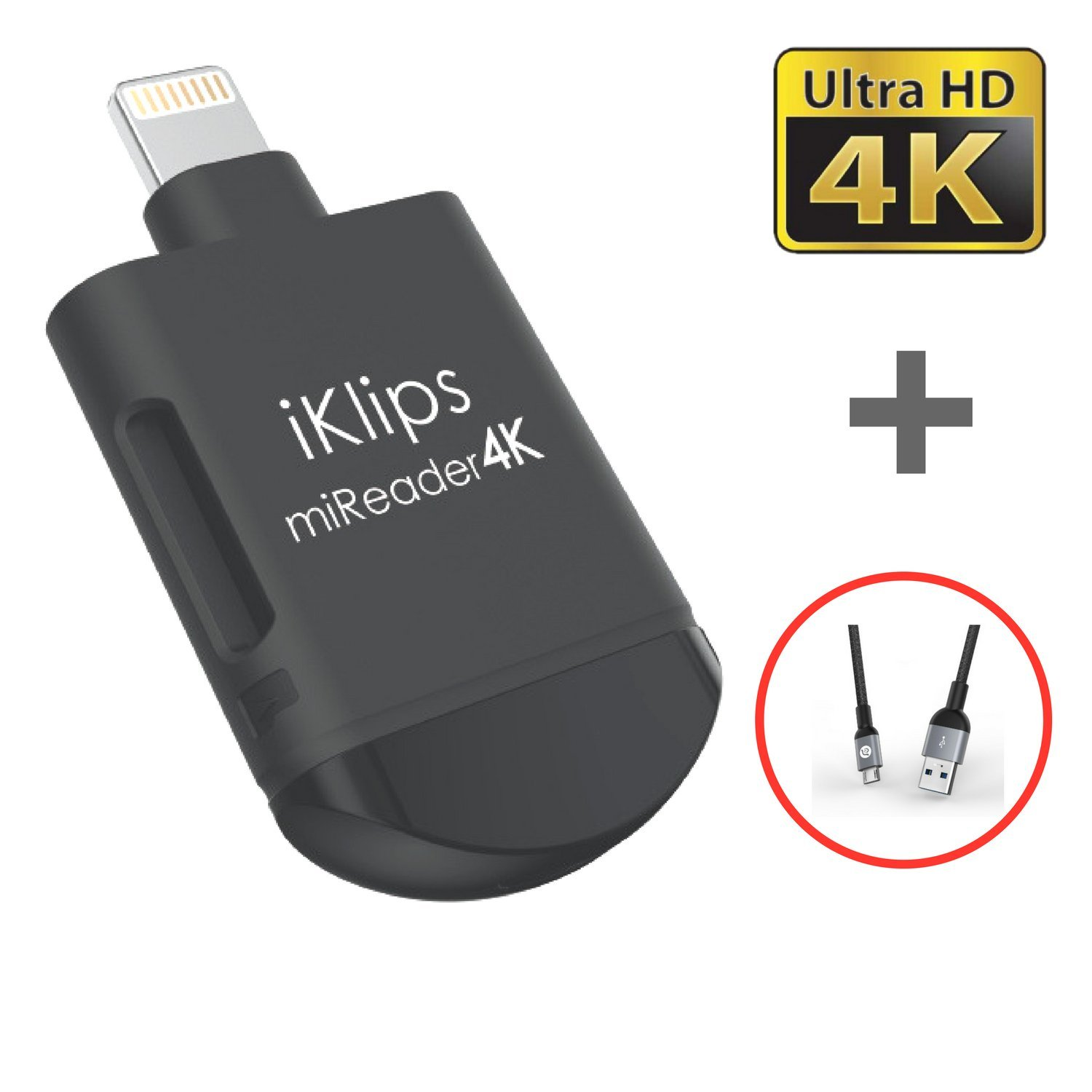 A ADAM ELEMENTS iKlips miReader MicroSD 4K Card Reader Compatible for iPhone iPad External Memory Storage Charger - Store, View, Edit, Record 4K Video ...