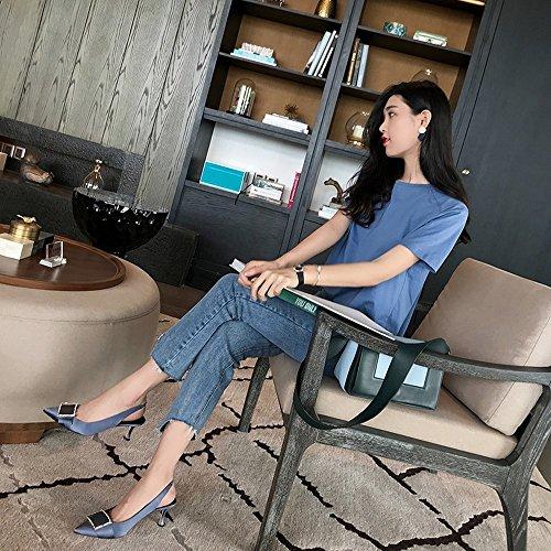 de Baja Polvoriento 38 para Verdad Moda de con Enana con Sandalias Hebilla Cuadrada Llevar Boca de DIDIDD Zapatos Azul aPqgw