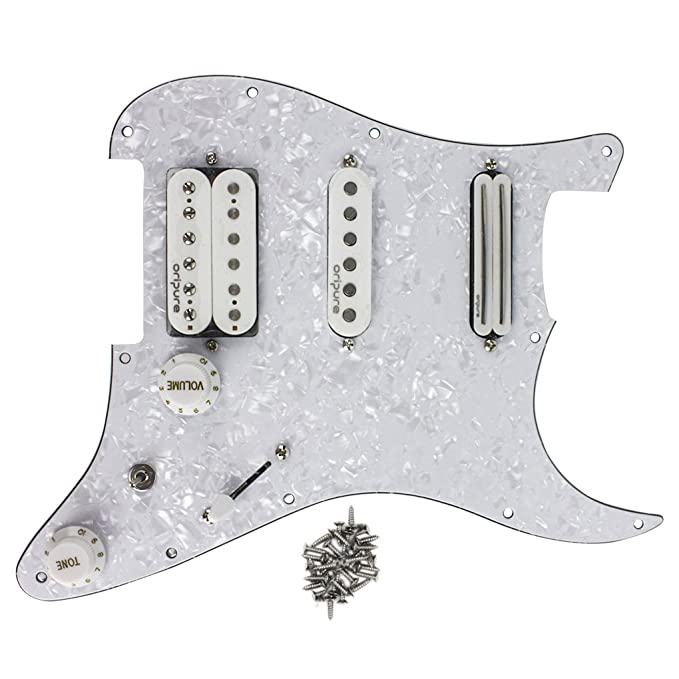 Amazon.com: OriPure Loaded Prewired Pickguard w/SSH Pickups Alnico 5 Humbucker for Fender Style Electric Guitar Part, 4Ply White Pearl: Musical Instruments