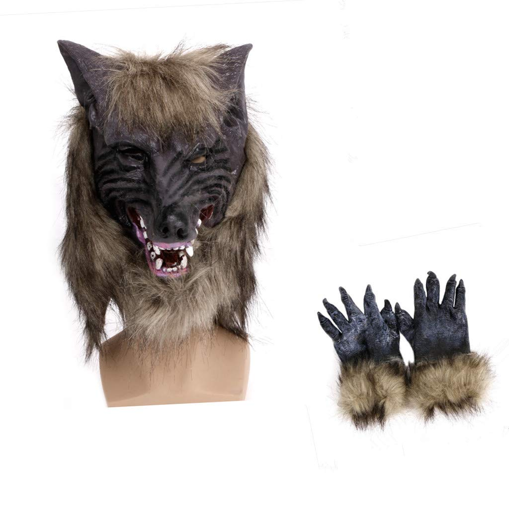 Cicitop Halloween Werewolf Mask Gloves Natural Latex Mask& Hands Masquerade Party Costume Scary Toy Cosplay Prop