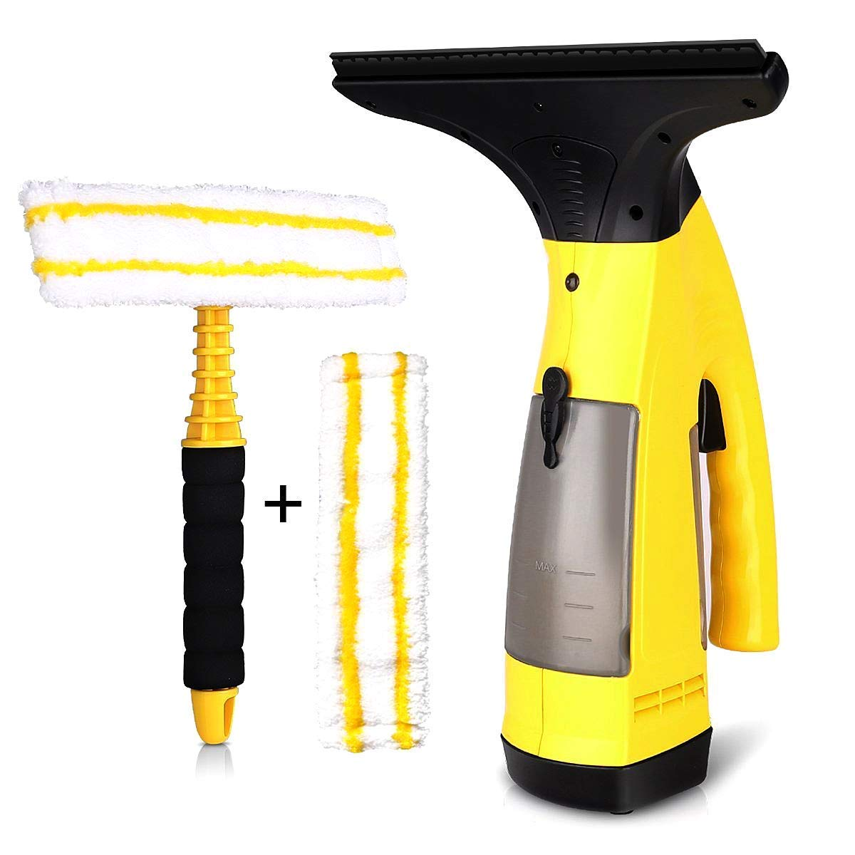 Window Vacuum Cleaner, 5.5V/12W Cordless Window Vac Streak-Free Cleaner 2-Piece Suit, Suitable for All Smooth Surfaces Such As Windows Tiles, Shower, Cabinets (EU Plug) Voker