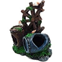 1PC Aquarium Barrel Cave Wind Wheel Fish Tank Landscape Ornament Fish Hiding Cave Resin Broken Barrel Cave