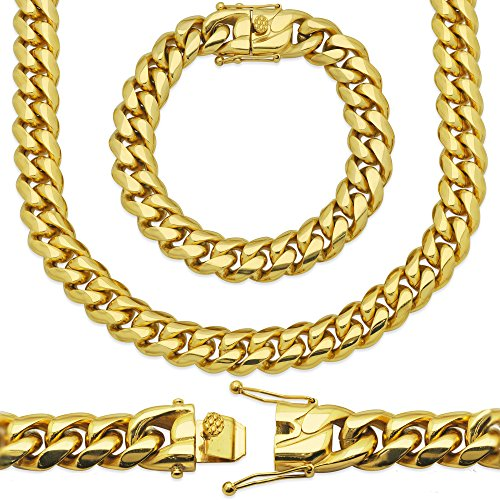 Premium 18KT Real Gold Electroplated Stainless Steel Heavy Solid Miami Cuban Link Chain. Secure Box Lock. Available in 30
