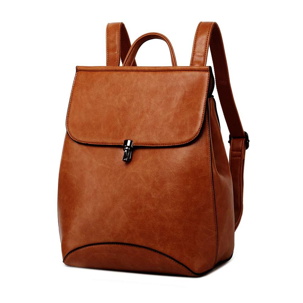 WINK KANGAROO Fashion Shoulder Bag Rucksack PU Leather Women Girls Ladies Backpack Travel bag (brown) by WINK KANGAROO