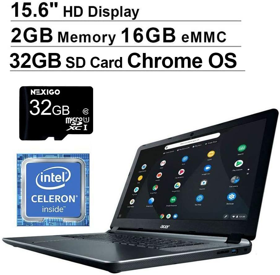 Acer Chromebook 15 15.6 Inch Non-Touch Laptop for Business Student| Intel Celeron N3060 up to 2.48 GHz| 2GB LPDDR3 RAM| 16GB eMMC| WiFi| HDMI| Chrome OS + NexiGo 32GB SD Card (Renewed)