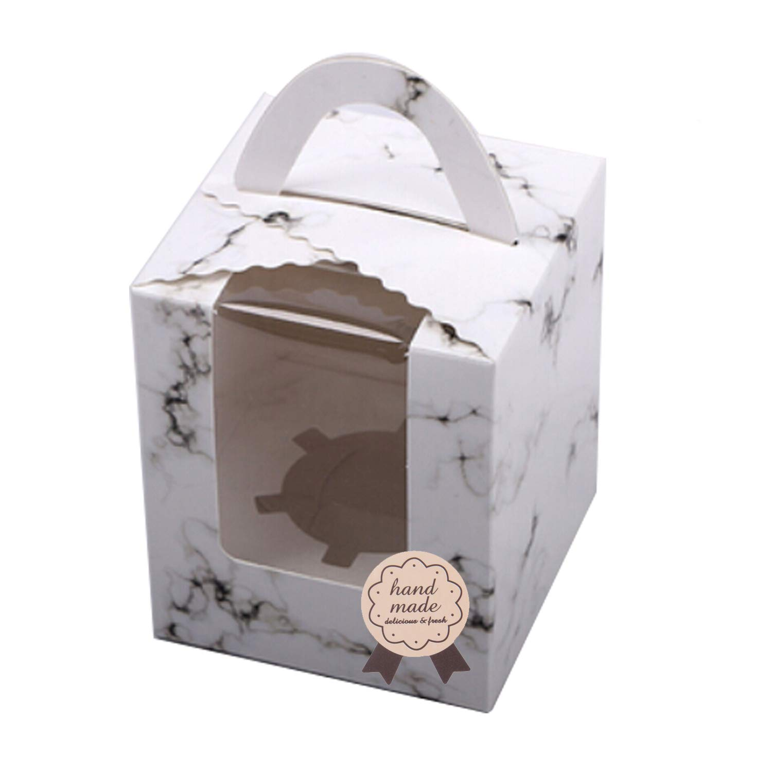 Set of 12 Portable Cupcake Boxes Containers PVC Window/Cardboard Insert (Marble Pattern)