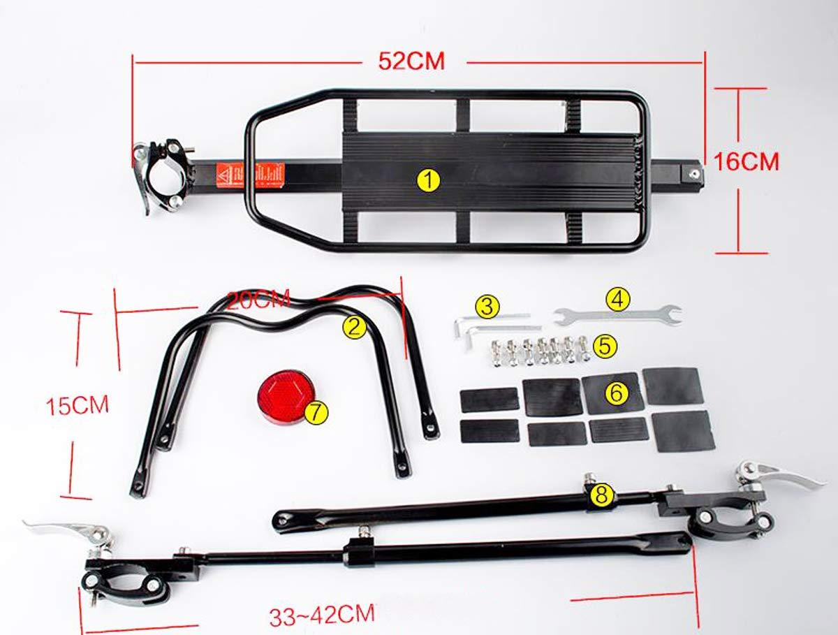 PowerZJS Porte-Bagages de v/élo en Alliage avec Large Porte-si/ège Capacit/é 50 kg