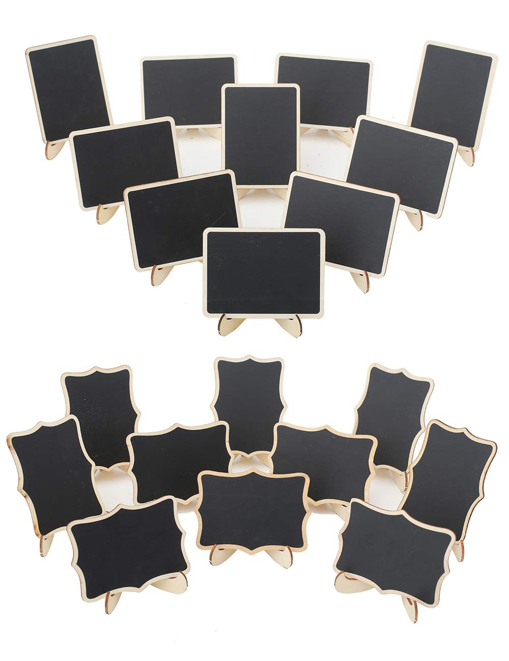 YiTai 20 Pack Wood Mini Chalkboards Signs with Easel Stand, Place Cards, Two Styles Chalkboards Blackboard for Weddings, Message Board Signs, Food Signs and Special Event Decoration