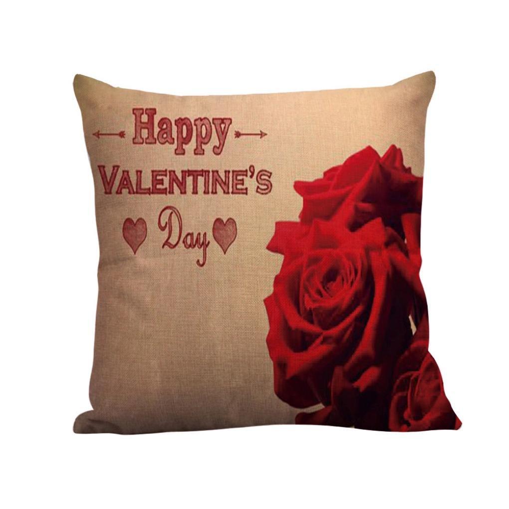 Tiean New Happy Valentine Pillow Cases Linen Sofa Cushion Cover Home Decor Pillow Case (C)