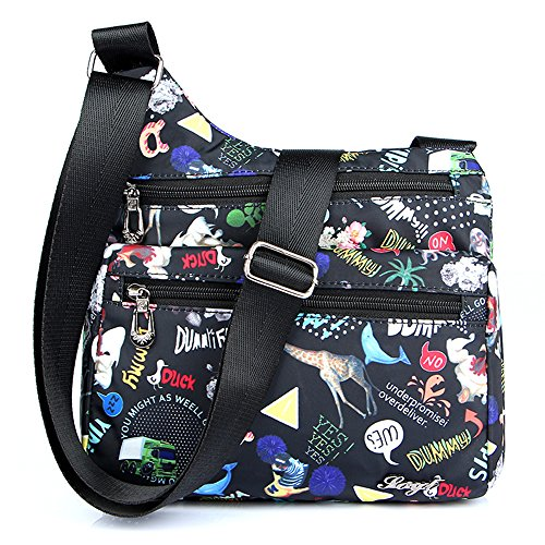 STUOYE Nylon Multi-Pocket Crossbody Purse Bags for Women Travel Shoulder Bag Animal