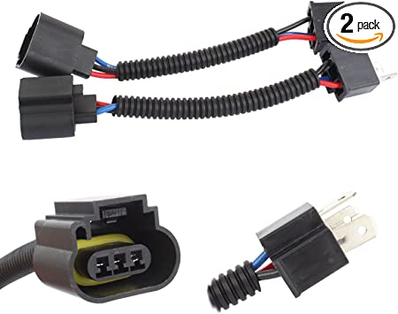 2x H13 9008 Male Plug Headlight Pigtail Socket Connector Adapter 3 Wire Harness
