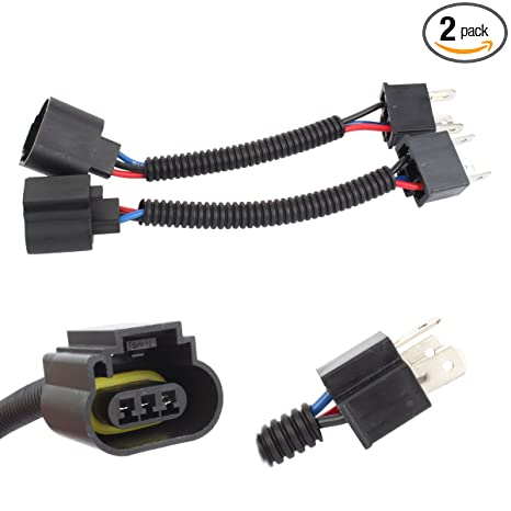 TOMALL H4 9003 HB2 Male to H13 9008 12cm(5inch) Retrofit Wiring Harness on