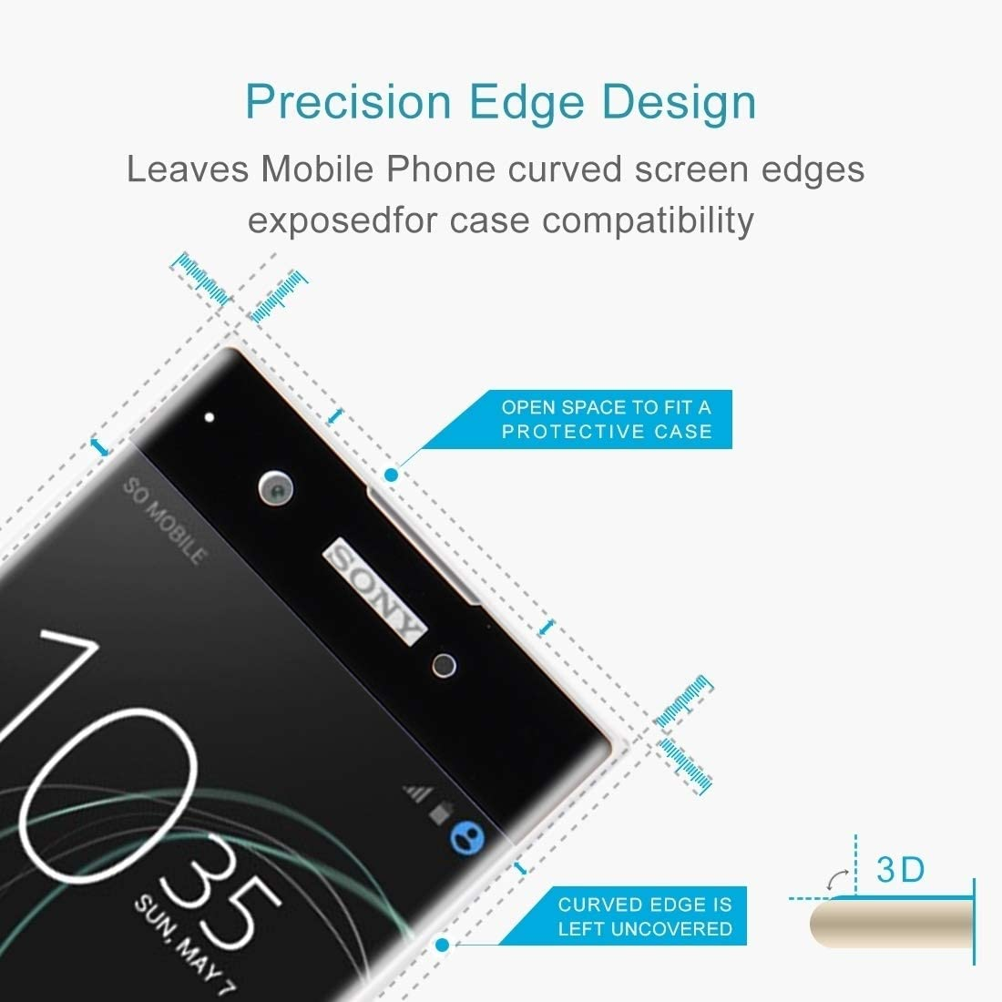 Color : Black Black JIN Mobile Phone Screen Film 25 PCS for Sony Xperia XA1 0.33mm 9H Surface Hardness 3D Curved Full Screen Tempered Glass Screen Protector