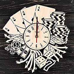 7Arts Las Vegas Poker Wooden Clock - Decorative Wall Clock Made from Eco Wood with Silent Quartz Movement and Autonomous Power Source - Can be Painted, Great Gift Idea