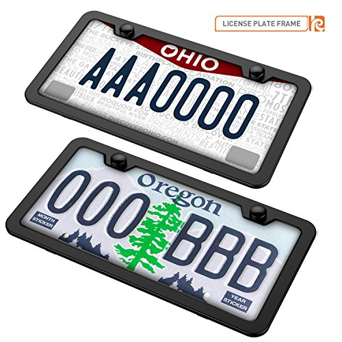 Black License Plate Frames, Karoad Stainless
