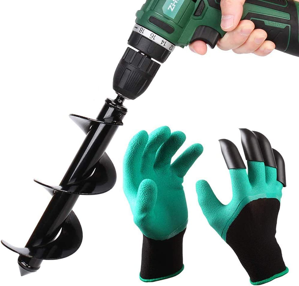 """Auger Drill Bit Garden Plant Flower Bulb Auger 3"""" x 10"""" Rapid Planter Post or Umbrella Hole Digger For 3/8"""" Hex Drive Drill with Garden Genie Gloves"""