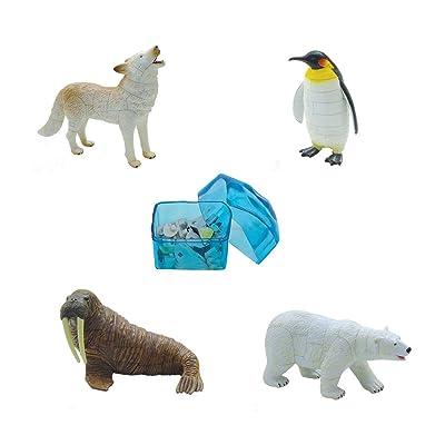 Assorted 4pcs/Set of Ukenn 3D Polar Life Animal Puzzles DIY Arctic Wolf Penguin Walrus Polar Bear Models Kids Educational Toy 2666: Toys & Games