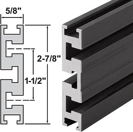 "Platte River T5 Aluminum Fence Stock Rectangular Track 24/"" Black Anodize Finish"