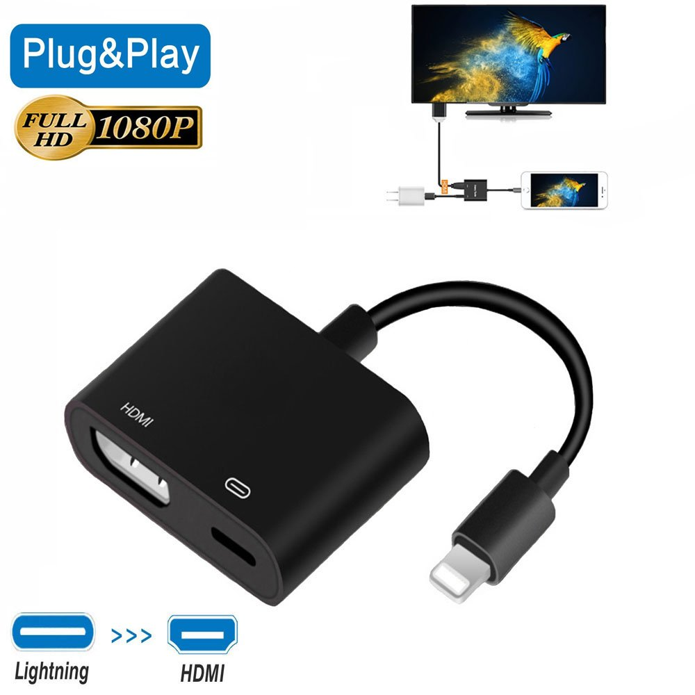 Lightning to HDMI Adapter Converter, Wuedozue iPhone to HDMI Digital AV Adapter Cable and 8 Pin Charging Port with 1080P Resolution Sync Screen for iPhone X/8/7/6/iPad to TV Screen/Projector (Black)