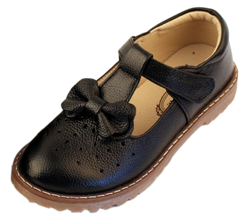 iDuoDuo Girls Cute Bow Mary Jane Dress Wedding Shoes Strap Leather Princess Flats Black 10.5 M US Little Kid