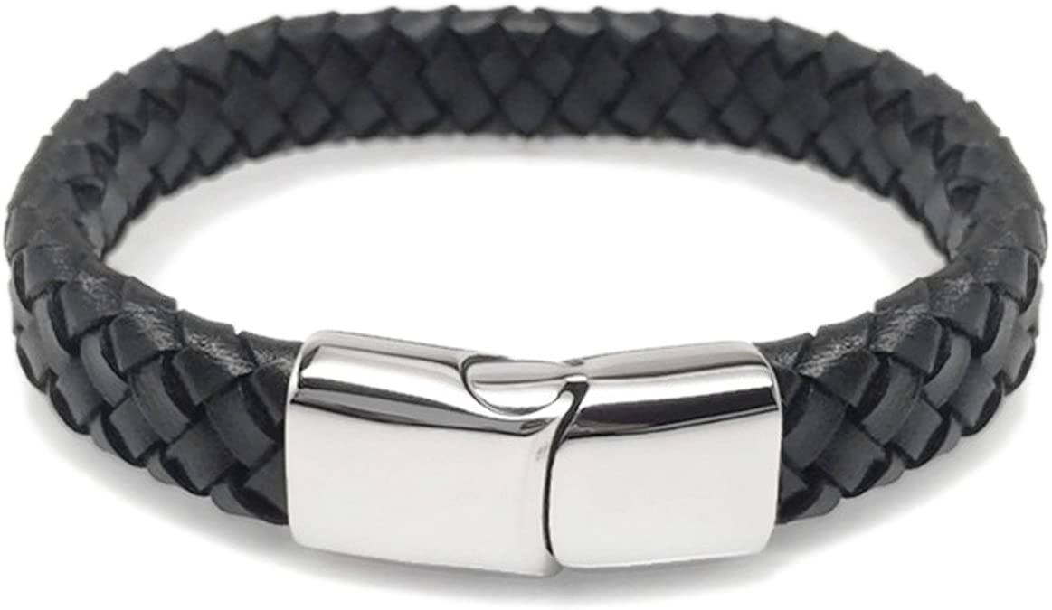 Mens Womens Braided Black Leather Stainless Steel Magnetic Clasp Bracelet #B370
