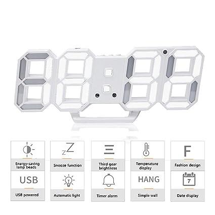 3D LED Despertador, Reloj Digital Moderno, Reloj de Pared con 24/12 horas