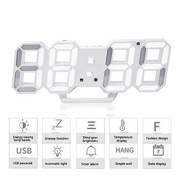 3D LED Despertador, Reloj Digital Moderno, Reloj de Pared con 24/12 horas pantalla 3 niveles de brillo ajustable y snooze Función para hogar cocina oficina: ...