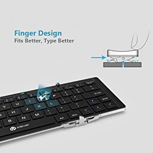 iClever Bluetooth Keyboard, Foldable Wireless Keyboard with Portable Pocket Size, Aluminum Alloy Housing, Carrying Pouch, for iPad, iPhone, and More Tablets, Laptops and Smartphones (Color: Black, Tamaño: Small)