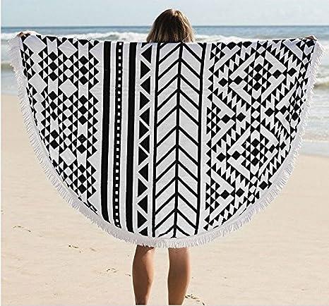 Verano redondo Mandala toalla de playa de microfibra con flecos chal macramé de picnic tapiz manta de alfombrilla para yoga sol baño: Amazon.es: Hogar