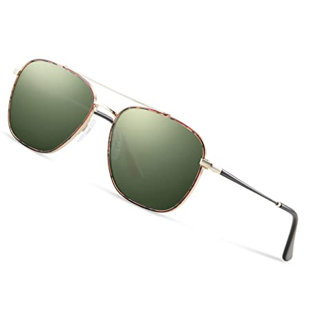 Gold Frame Dark Green Lens Xiton 1PC Sottile Telaio in Metallo Occhiali da Sole polarizzati Poligono Obiettivo rispecchiato Protezione UV per Uomini e Donne