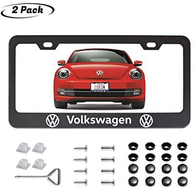 2pcs fit V W Front and Rear License Plate Frames,Newest Matte Aluminum Alloy Plate Frame to Decorate Your License Plate Cover,Screw Caps Included (for VW License Plate Frames-Black): Automotive