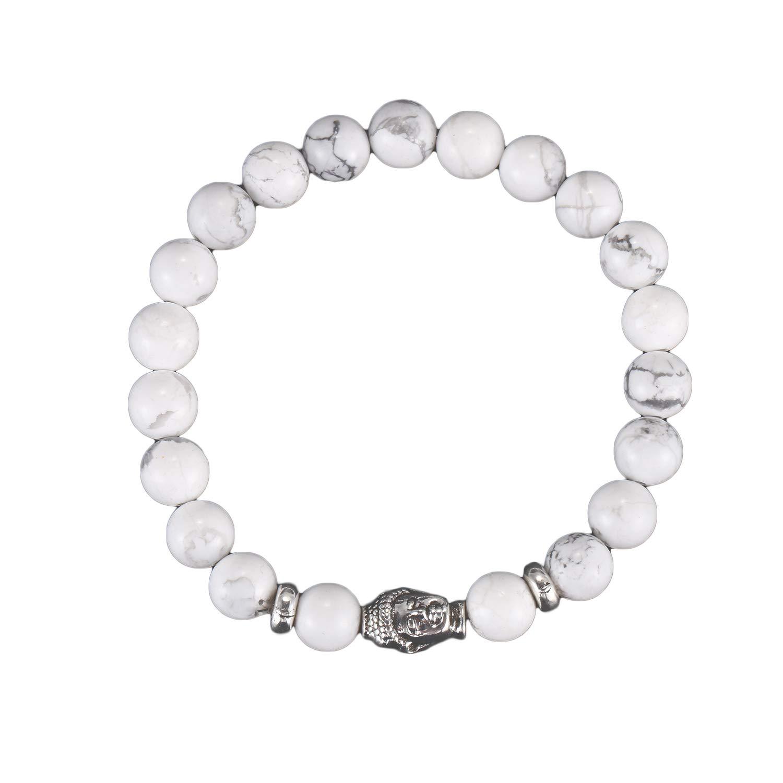 TOOGOO Bracelet 8MM Charms Bracelet for Women and Men Buddha Buddhist Prayer Healing Bracelet (White)