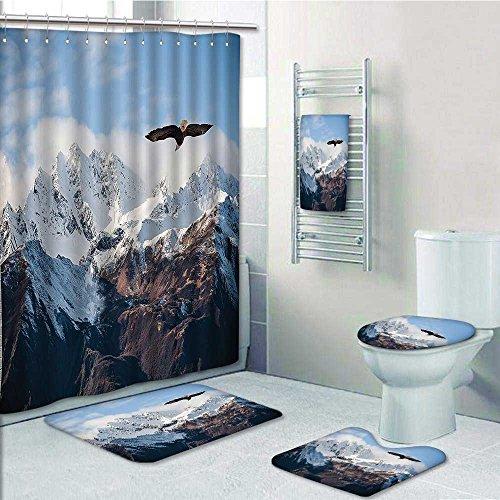 60OFF Designer Bath Polyester 5 Piece Bathroom SetFrozen Peaks Tops Of
