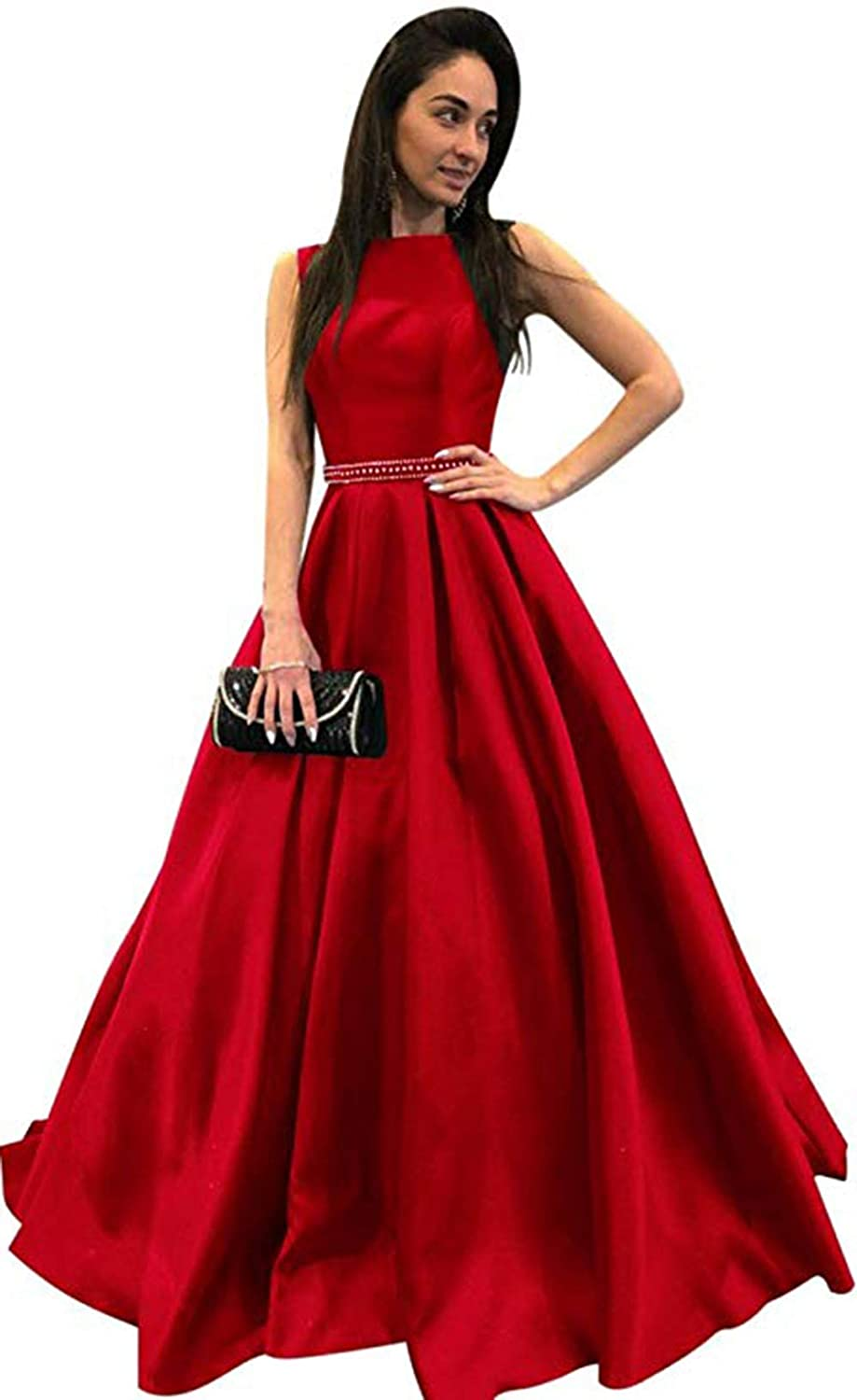 Red Ri Yun Womens Scoop Neck Long Prom Dresses 2019 Backless Beaded ALine Satin Formal Evening Ball Gowns with Pockets